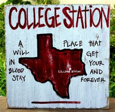 Southern College Towns Hand Pained Wood Sign. College Station, #Texas