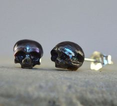 awesome Carved Pearl Skull Stud Earrings with Sterling Silver Backs- Skull Pearl Earrings- Skull Jewelry - Pearl Jewelry - Peacock Pearl