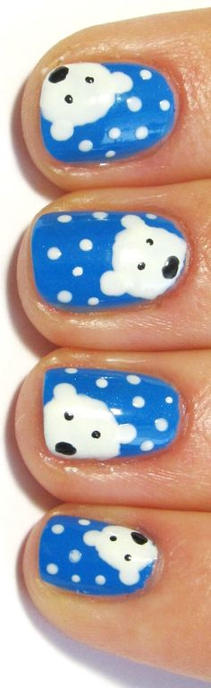 Polar bear nail art. My daughter would love....