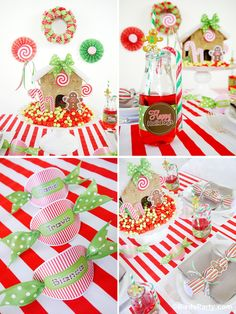 Kids' Holiday Table - A Candyland Themed Holiday Kids Table with FREE party printables by Bird's Party  #candy #candyland #kidstable #Holidays #PartyIdeas  #Christmas #free #printables