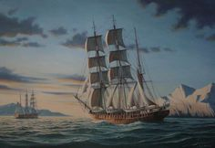 Oil Paintings of the Whaling Ship Wanderer - Richard Moore