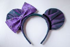 Mickey Mouse Ear Headband Inspired by the Haunted Mansions Creepy Wallpaper  These ears are covered with a gorgeous iridescent satin fabric that