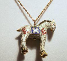 Vintage Chinese Cloisonne Enamel White Horse by GretelsTreasures
