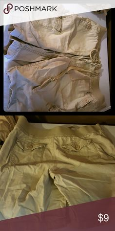 Tan cargo shorts Worn maybe twice after a c section good condition Faded Glory Shorts Cargos