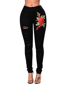 Dellytop Women Rose Embroidered High Waist Ripped Skinny Jeans Distressed Denim Pants