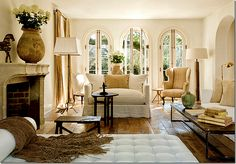 Warm mix of contemporary and antique furnishings.