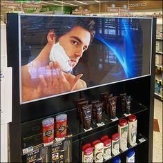 Glass Shelves, Display Shelves, Shaving Supplies, Pharmacy Store, Store Fixtures, Shaving Cream, Men's Grooming, Deodorant, Shelf