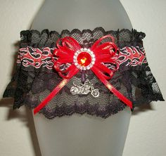 Motorcycle Garter Silver Red Flame Black Lace Rhinestone Crystal Satin Sparkle Shimmer Fun Unique Biker Harley Outdoor Sturgis Rally Hell's Angels Wedding by JazziGenShoppe on Etsy
