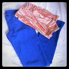 "Tall royal blue pants Royal blue corduroy 36""inseam 31"" waist 39"" hips Great condition J. Crew Pants Boot Cut & Flare"