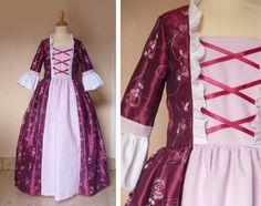taffetas rose foncé brodé de fils et sequins, coton rose clair et blanc. taille maximale 130cm. prix 69€