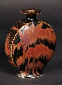 Canteen form vase with Honan Temoku glaze by Brother Thomas Bezanson (VT, 1929-2007)