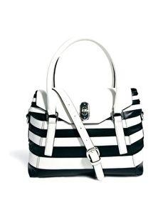 Karen Millen Cruise Black & White Flap Top Bag