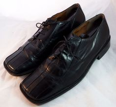 STACY ADAMS ~ Black Leather Square Toed Oxfords ~ Size 10.5 M #StacyAdams #Oxfords