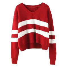 V Neck Striped Wine Red Sweater (1.140 RUB) ❤ liked on Polyvore featuring tops, sweaters, long sleeved, red, striped tops, stripe sweater, striped v neck sweater, red v neck sweater and wine sweater