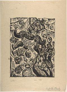 Linocut print in the Metropolitan Museum of Art. La Piñata Politica by Leopoldo Méndez (Mexican, 1902–1969)