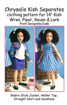"""Separates Doll Clothes Sewing Pattern 14"""" Kish Lark Wren Raven Piper #DesignsbyJude"""