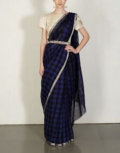 Buy Indigo & Black Festive Checks Sari Available at Ogaan Online Shop