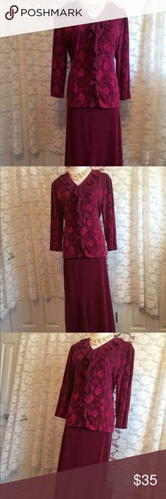 Coldwater Creek jacquard Skirt and jacket set Stunning as a set or worn individually. Stretchy and comfortable. Top has a design into the fabric. Great drape and great quality. New in bag. Coldwater Creek Dresses