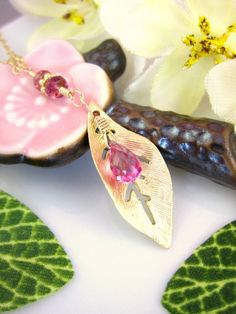Gold leaf with hot pink corundrum quartz gold by KBlossoms on Etsy, $36.00
