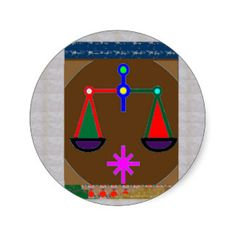 BALANCE Ancient Vintage Justice Equility SPIRITUAL Round Stickers