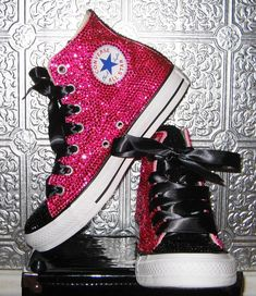 rhinestone converse all star high tops with ribbon by STEAMHATTER