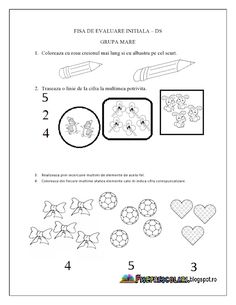 Fise de lucru - gradinita Numbers Preschool, Preschool Worksheets, Kindergarten Activities, School Counseling Office, Thing 1, Kids Learning, Homeschool, Bullet Journal, Erika
