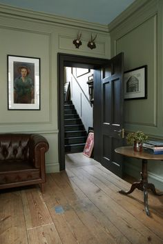 41 ideas painted wood walls paneling farrow ball for 2019 Olive Green Paints, Sage Green Paint, Green Paint Colors, Olive Green Walls, Gray Paint, Neutral Paint, Painted Wood Walls, Wood Panel Walls, Green Painted Rooms