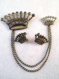Sterling Crown Chatelaine Brooch Earrings Set