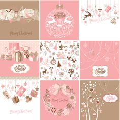 Vector Art : Set of pink and brown Christmas Cards