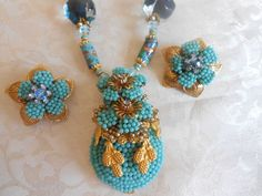 STANLEY HAGLER Signed Turquoise Art Glass Beaded Necklace Set! Gorgeous! #stanleyhagler