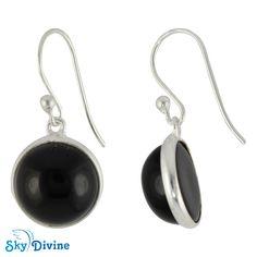 Sterling Silver Black onyx Earring SDER2104 | Sky Divine Jewelry, $36.86