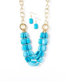 Love this Gold & Blue Stone Bib Necklace & Earrings Set on #zulily! #zulilyfinds