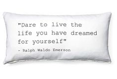 """Dare"" 12x24 Cotton Pillow, White on OneKingsLane.com"