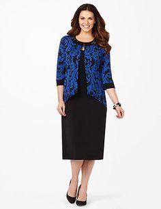 Fluid Cobalt Jacket Dress | Catherines