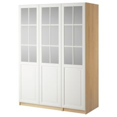 "PAX Wardrobe with 3 doors - Birkeland frosted glass/white, birch effect, 59x23 5/8x93 1/8 "" - IKEA"