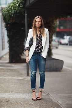 Polka dot shirt, white blazer & distressed denim #Streetstyle