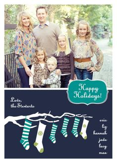 We can never get a good photo of all 6 of us-- I like the idea of using just the bottom half of this for a personalized card-- add names on each stocking...