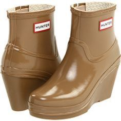 Hunter Rainboots! Camel colored Hunter Rainboots on a fashionable wedge!  Perfect for April showers! Only worn a handful of times.  Description in pics. Hunter Boots Shoes Winter & Rain Boots