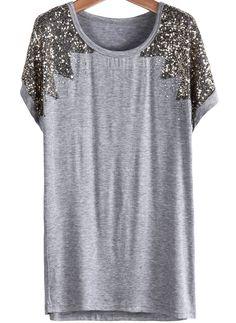 Grey Short Sleeve Sequined Modal T-Shirt - Sheinside.com