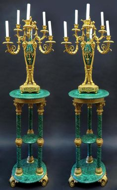 Russian Malachite Pair of Pedestals & Candelabras