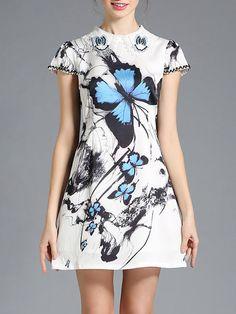 Shop Mini Dresses - White Short Sleeve Animal Print Printed Polyester Mini Dress online. Discover unique designers fashion at StyleWe.com.