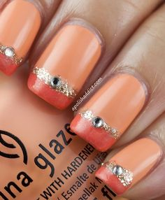 Orange glitter nails - nail art designs, shiny decorated nails