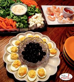 With the crazy week ahead for many of us do you have your finger foods planned out? We're doing Paprika Deviled Eggs, Veggies with a Spicy Southwest Ranch Dip and Shrimp with Strong Steven Paprika Relish instead of hot sauce in the Cocktail sauce.  Yum!  www.PaprikaRocks.com