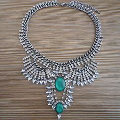 Glamorous Emerald  Rhinestone Crystal Statement Necklace