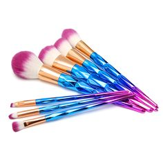 7pcs Gorgeous Handle Makeup Brushes Cosmetic Tools Loose Powder Blush Hightlight Shading Blend Lip