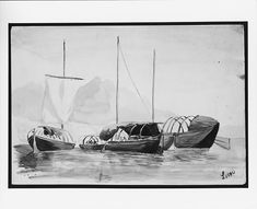 """Boats on Lake Lecco"" (from Switzerland 1869 Sketchbook) John Singer Sargent (American, Florence 1856–1925 London)"