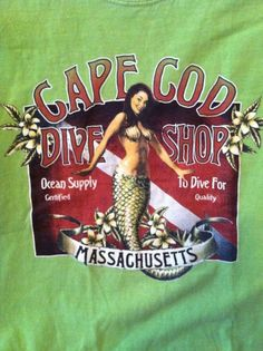 Cape Cod Massachusetts Dive Shop T-Shirt with Mermaid- size small