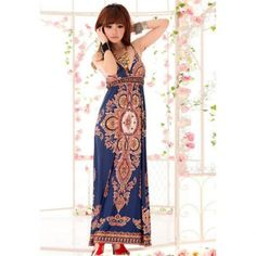 Charming Plunging Neck Bohemian Camisole Dress for Women, DEEP BLUE, ONE SIZE in Bohemian Dresses | DressLily.com