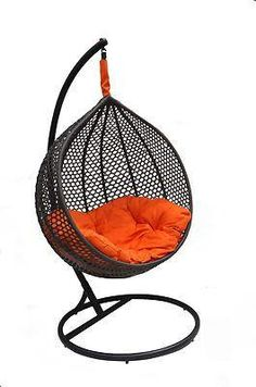 Ravelo – Patio Swing Chair with Matching Stand (Black)  - Model – PE-03BK - Chans Furniture - 1