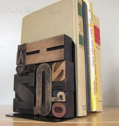Handmade Vintage Wood Printers Type Bookends by 2ndChanceShop, $40.00 #woodtype #bookends #letters